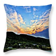 Beautiful Sky Over The Harbour Digital Painting Throw Pillow