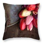 Beautiful Spring Tulips Throw Pillow