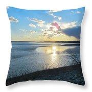 Beautiful Sunset Iowa River Throw Pillow