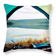 Beautiful View Of Calm Lake Looking Out Of Tent Throw Pillow