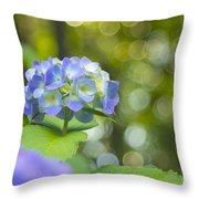 Beautiful Violet Hydrangea With Green Leaves And Bokeh Lights Throw Pillow