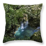 Beautiful Waterfall In The Mountains In Navarra Throw Pillow