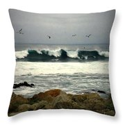 Beautiful Waves On The Monterey Peninsula Throw Pillow