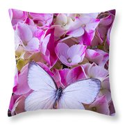Beautiful White Butterfly Throw Pillow