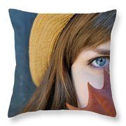 Young Woman And Leaf Throw Pillow