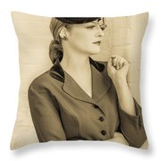 Beautiful Woman In Vintage Forties Clothing Throw Pillow