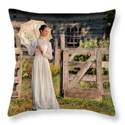 Beautiful Woman In White Dress With Parasol Throw Pillow