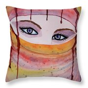 Beautiful Woman With Niqab Watercolor Painting Throw Pillow