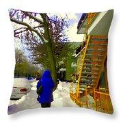 Beautiful Yellow Staircase Verdun Snow Scene Montreal Art Colors Of Quebec Carole Spandau Throw Pillow