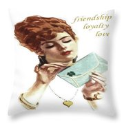 Beautiful Young Woman Holding Love Letter Vintage Vector Throw Pillow