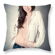 Beautiful Young Woman Throw Pillow