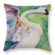 Beauty And Grace Swan Throw Pillow
