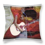 Beauty And Her Guitar Throw Pillow