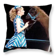 Beauty And Her Llama Throw Pillow