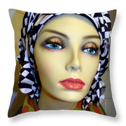 Beauty In Turban Throw Pillow