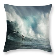 Beauty Of Surfing Jaws Maui 7 Throw Pillow