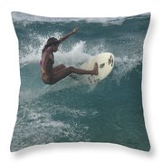 Beauty On A Surf Board Throw Pillow