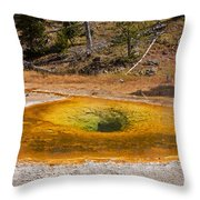 Beauty Pool In Upper Geyser Basin In Yellowstone National Park Throw Pillow