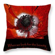 Beauty Red Anenome Throw Pillow