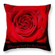 Beauty Red Rose Throw Pillow