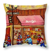 Beauty's Restaurant Paintings Of Plateau Montreal Winter Scenes Hockey Art Carole Spandau  Throw Pillow