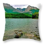 Beauvert Lake In Jasper Np-ab Throw Pillow