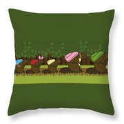 Beaver Family Walk Throw Pillow by Christy Beckwith