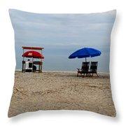 Beach Chairs Panorama Hilton Head  Throw Pillow