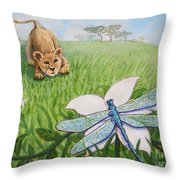 Beckoning The Little Predator To Come Closer Throw Pillow
