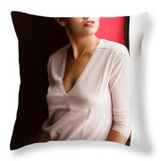 Becky By The Window Throw Pillow