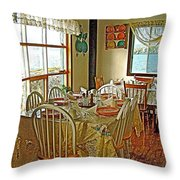 Bed And Breakfast Over The Water At Fishing Point In Saint Anthony-nl Throw Pillow