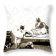 Bed Time For Kitty Cats Histrica Photo Circa 1900 Throw Pillow