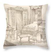 Bedchamber Furniture In The Japanese Throw Pillow