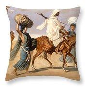 Bedouin Family Travels Across The Desert Throw Pillow