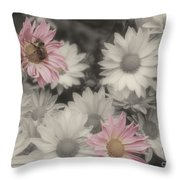 Bee And Daisies In Partial Color Throw Pillow