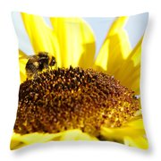 Bee And Flower Throw Pillow by Les Cunliffe