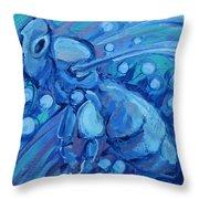 Bee Blue Throw Pillow