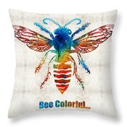 Bee Colorful - Art By Sharon Cummings Throw Pillow