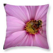 Bee Cosmos Throw Pillow
