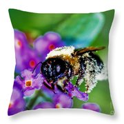 Super Bee Covered With Pollen Throw Pillow