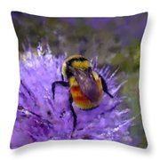 Bee Flower Throw Pillow by Roger Snyder