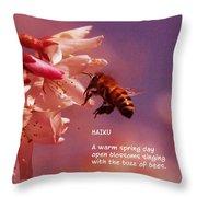Bee Haiku Throw Pillow