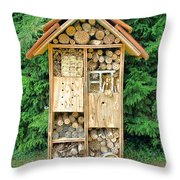 Bee House Throw Pillow by Olivier Le Queinec