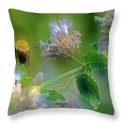 Bee In Catmint Throw Pillow