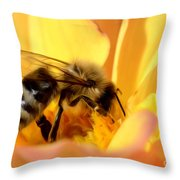 Bee In Flower Throw Pillow