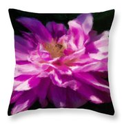 Bee In Purple Dahlia Throw Pillow