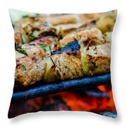Beef Kababs On The Grill Closeup Throw Pillow