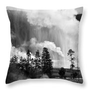 Beehive Geyser Shower In Black And White Throw Pillow