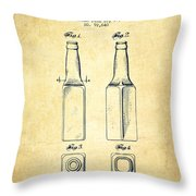 Beer Bottle Patent Drawing From 1934 - Vintage Throw Pillow by Aged Pixel