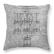Beer Brewery Patent Charcoal Throw Pillow